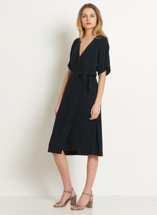 robe portefeuille crepe femme. Black Bedroom Furniture Sets. Home Design Ideas
